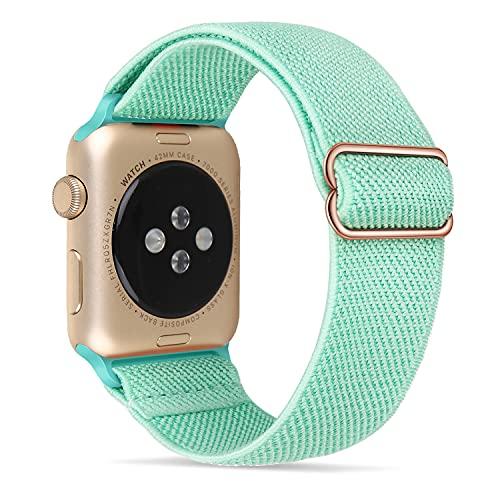 Tasikar Sport Solo Loop Compatible con Correa Apple Watch 44 mm 42 mm, Nailon Pulsera Repuesto, Correas Trenzada Elástica Ajustable para Apple Watch Serie 6/SE/5/4/3/2/1-Azul cian
