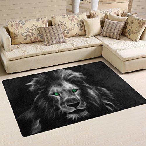 yibaihe leicht bedruckt Bereich Teppich Teppich Fußmatte Deko Abstrakt Fantasy Löwe wasserabweisend leicht zu reinigen für Wohnzimmer Schlafzimmer 153 x 100 cm
