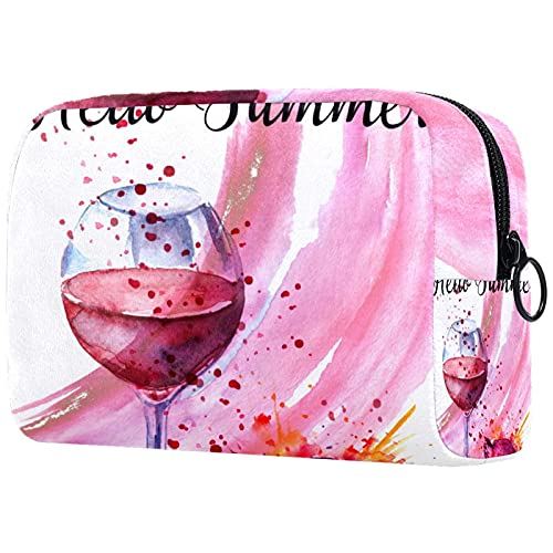Trousse de Maquillage Organisation Rangement Cosmétique Portable Gran Queue de vin Rouge du vin Rouge pour Les Voyages Plein air