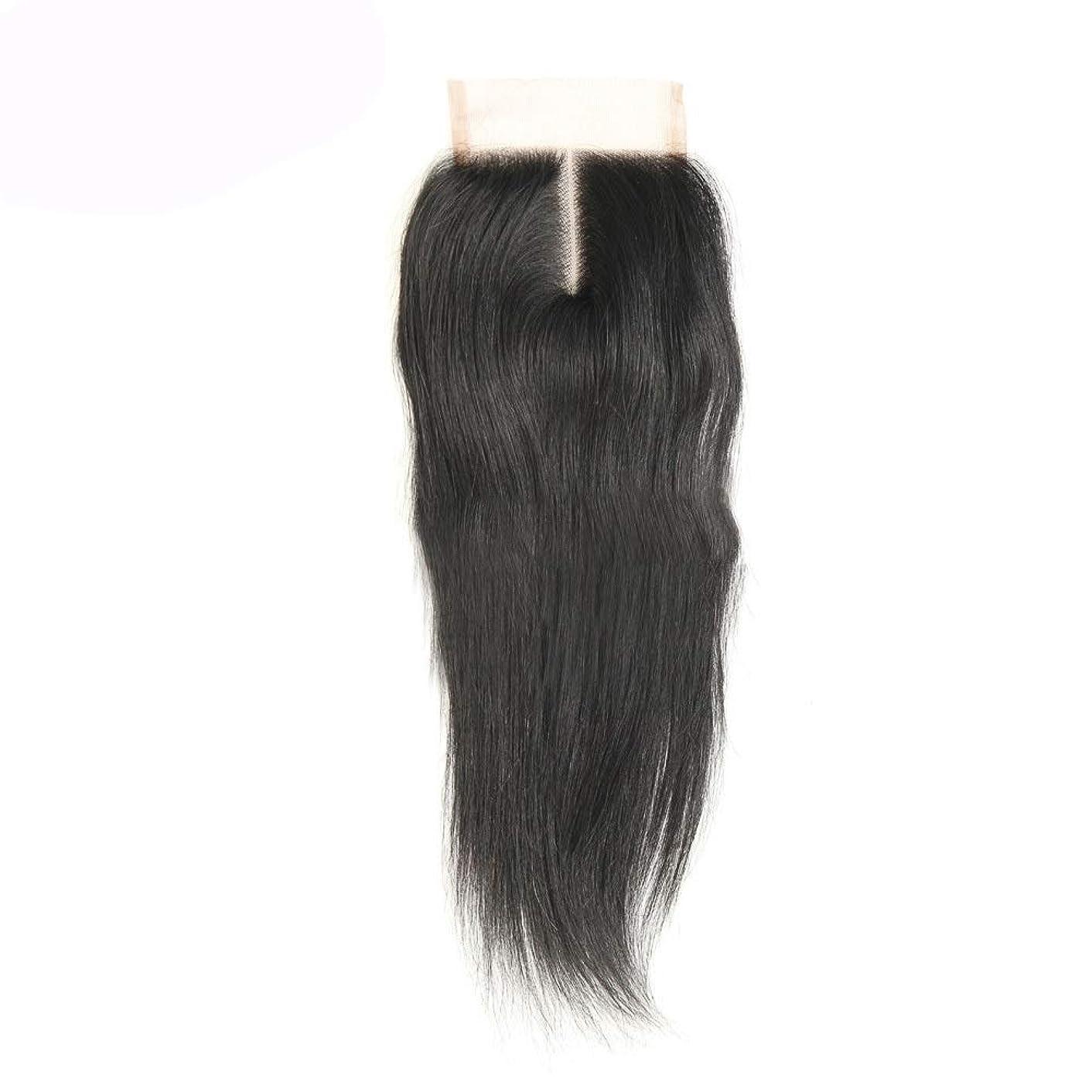 逸脱懲らしめキルトWASAIO 中部ストレートレース閉鎖ブラジル人間の髪の毛の閉鎖 (色 : 黒, サイズ : 8 inch)