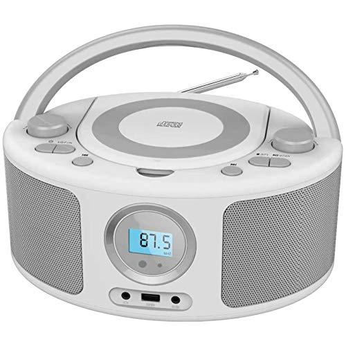 CD-Radio Tragbare CD-Player-Boombox mit Bluetooth- und FM-Radio, USB-Eingang und 3,5-mm-AUX-Kopfhörerbuchse (Grau)