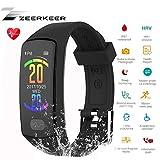 Armband Uhr,ZeerKeer Fitness trackers 0,96 Elektrokardiogramm PPG, Schrittzähler, Kalorienverbrauch SMS, Facebook Twitter Damen Heern (Schwarz)