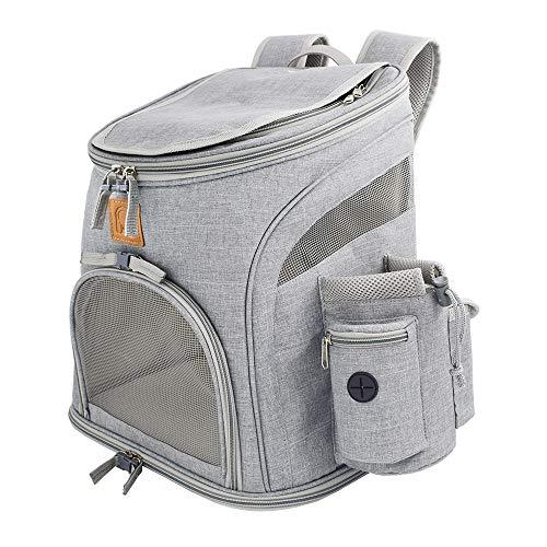 Rolscaler Pet Carrier Backpck for Small Dog, Large Ventilation Small Dog Carrier Backpack for Hiking Vet etc (Light Grey)