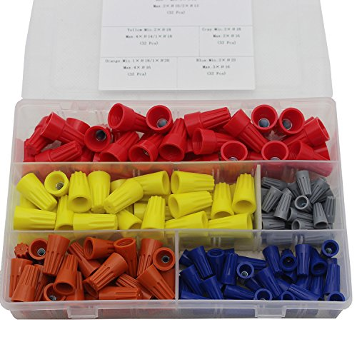 Wire Connectors Screw Terminals with Spring Insert Twist Nuts Caps Connectors Assortment Kit for 160pcs