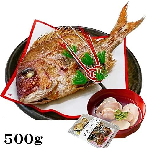 お食い初め 鯛 はまぐり セット 500g 山形県産 天然 真鯛 冷蔵 敷紙 飾り