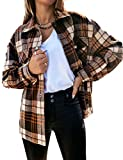 Himosyber Women's Vintage Lapel Plaid Button Up Wool Blend Shirts Shacket Coat (Brown, XX-Large)