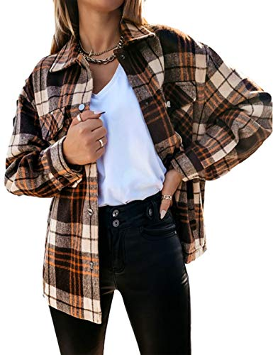 Himosyber Women's Vintage Lapel Plaid Button Up Wool Blend Shirts Shacket Coat (Brown, Medium)