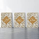 Oro amarillo celosía islámica Allahu Akbar caligrafía arte de la pared pinturas en lienzo Islam árabe cartel e imagen decoración de la pared del hogar 40x50cmx3 sin marco