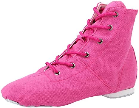missfiona Womens Canvas Over The Ankle Jazz Dance Boots Lace-up Ballroom Modern Dance Shoes