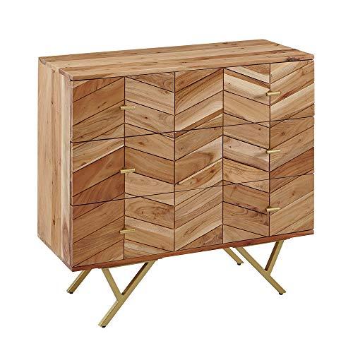 FineBuy Sideboard 90x86,5x40 cm Akazie Massivholz/Metall Anrichte | Kommode 3 Schubladen | Hoher Kommodenschrank Holz Massiv | Standschrank Wohnzimmer