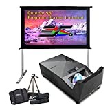 EliteProjector Ultra Short Throw Projector Bundle, 58 Inch Outdoor Screen with Stand, 8k 4K 1080P IPX2 Portable Home Theater, 1500 LED Lumen, 8Wx2 Speaker, Movie Sport Gaming, MosicGO