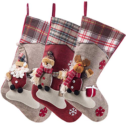 Sunnyglade 3PCS 17.5' Christmas Stocking Classic Large Stockings Santa, Snowman, Reindeer Xmas Character for Family Holiday Christmas Party Decorations