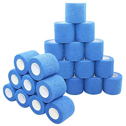 nilo Haftbandagen - 24 Rollen 5cm x 4,5m selbsthaftende elastische atmungsaktive Bandage, Fußverband, Pfotenverband, Erste Hilfe, Stützverband (Blau)