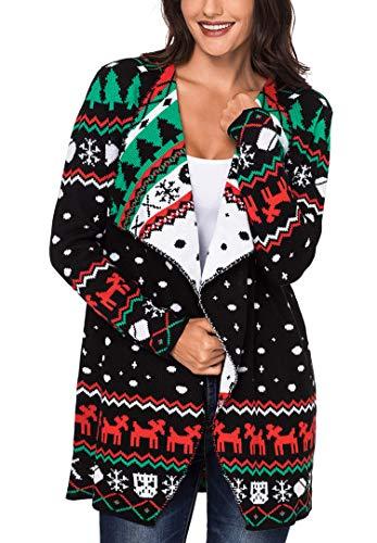 Sidefeel Women Open Front Christmas Turndown Collar Sweater Waterfall Cardigan Small Black