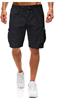 Shorts for Men, F_Gotal Men's Casual Solid Color Drawstring Elastic Waist Multi-Pockets Sports Pants Shorts Sweatpants