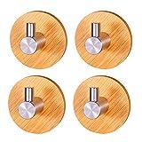 Bambú Ganchos Adhesivos, 4 Piezas Bambú Ganchos Multiusos, Gancho Autoadhesivo...