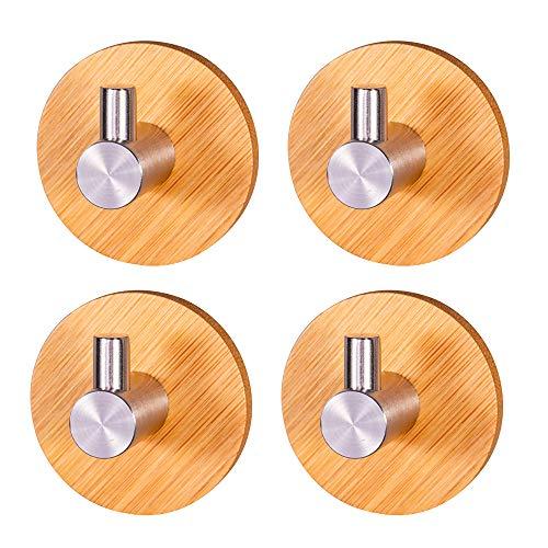 Bambú Ganchos Adhesivos, 4 Piezas Bambú Ganchos Multiusos, Gancho Autoadhesivo Bambú, Ganchos de Bambú, Gancho Autoadhesivo, para el Hogar Baño Cocina Abrigo Colgante Toalla Llaves Bola de Baño