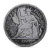 RK-HYTQWR 1905 Francia Estatua de la Libertad Estados Unidos con antorcha Moneda Conmemorativa del desafío, dólar de Plata francés de 1905, Plata
