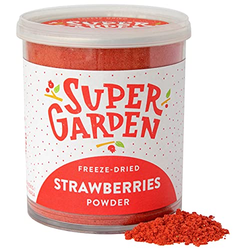 Supergarden Polvere di fragola liofilizzata - 100% Puro e naturale - Adatto ai vegani - Senza zuccheri aggiunti, senza additivi artificiali e senza conservanti - Senza glutine - Senza OGM