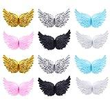 PRETYZOOM - 12 parches con alas de ángel bordadas, hierro y cosidos, para ropa, vaqueros, bolsos, pelo, manualidades, decoración, color mixto 10 cm