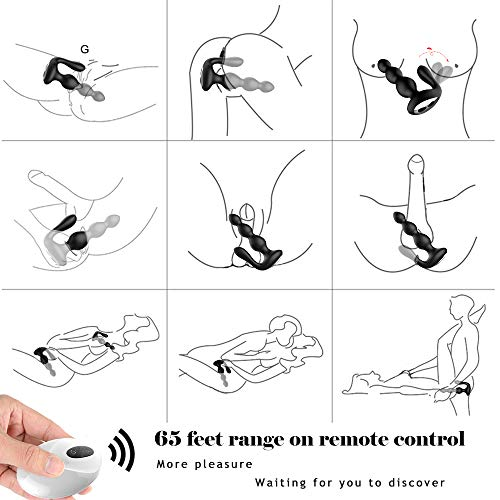 Male Prostate Massager with Testes Stimulation, 9 Speed Vibrating Anal Butt Plug Dual Motors G-spot Vibrator & Anal Stimulator Wireless Remote Anus Sex Toy for Men, Woman & Couples