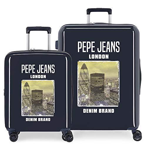Pepe Jeans Nolan Juego de Maletas Azul 55/70 cms Rígida ABS Cierre TSA Integrado 119,4L 7,1 kgs 4 Ruedas Dobles Equipaje de Mano