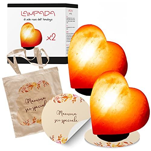 My Custom Style 2 lámparas de sal del Himalaya-Punjab Pakistan-Corazón #Mamma - Sei speciale#