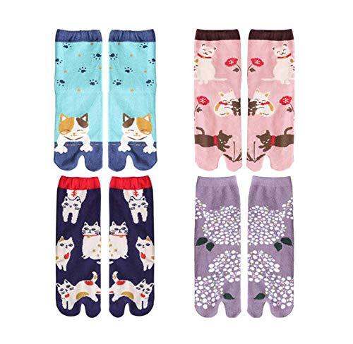 Black Temptation 4 Pairs japanischen Stil Frauen Zwei Zehen Socken Cosplay Socken, zufällige Muster