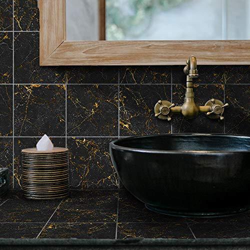 LUOWAN 10 hojas de azulejos de pared para baño, autoadhesivas, azulejos de suelo, para cocina, baño, arte de pared