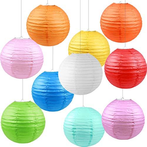 10 Piezas Linternas de Papel, (30cm / 12) Plegable Redondo Linternas de Bolas, Decoraciones Colgantes de Techo para Jardín Festival Fiestas y Bodas, 10 Colores Variados