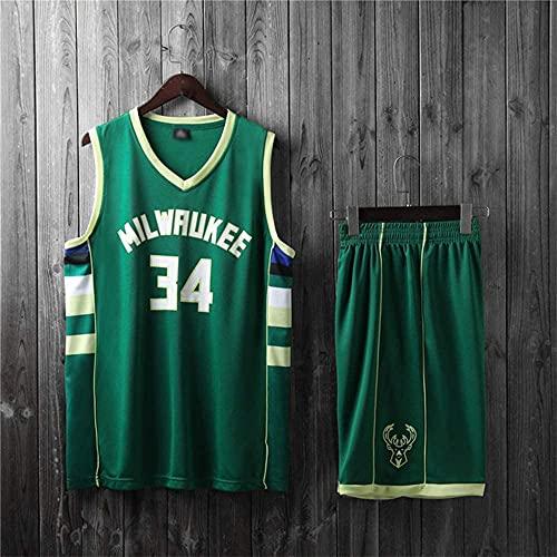 Ropa Trajes de camiseta de baloncesto para niños, Milwaukee Bucks # 34 Giannis AntetokounMpo NBA Chalecos informales y pantalones cortos Tops para deportes al aire libre Camisetas sin mangas, Green, S