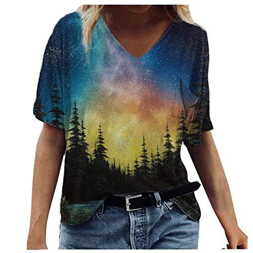 Kurzarm T-Shirt Oberteil Druckbluse Geschenk Sommer Top Damen Ärmeln Bluse Elegante Lässige Mode mit Buntem 2021 Neue Crop Tops (F-Schwarz, L)
