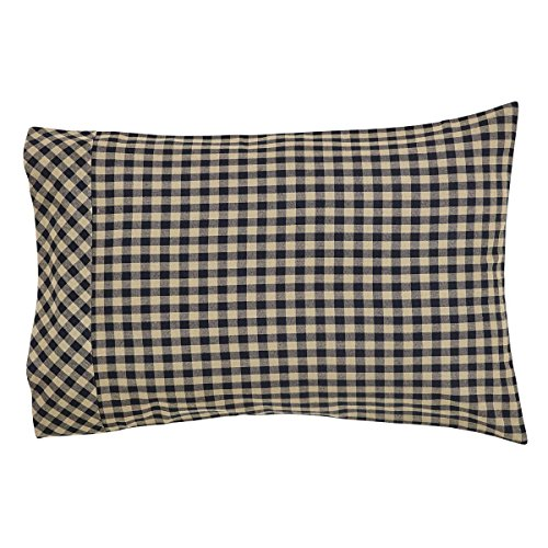 VHC Brands Classic Country Primitive Bedding - Check Pillow Case Set, Standard, Black
