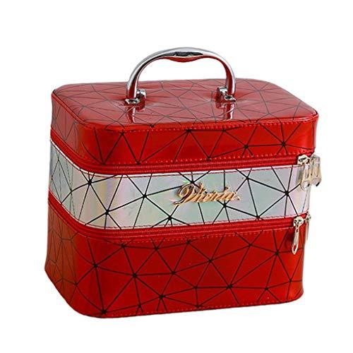 Preisvergleich Produktbild sharprepublic Kosmetiktasche mit Spiegel,  Schmuckkoffer Schminkkoffer Kosmetikkoffer Kulturtasche für Damen - rot