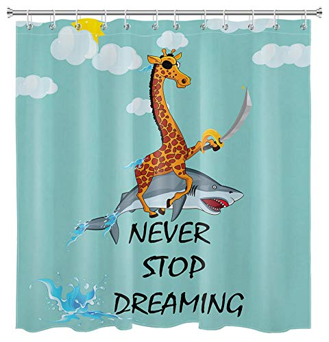 HVEST Funny Shark Shower Curtain Giraffe Riding Jaws Marine Wild Life Safari Animal Blue Sky Ocean Sea Shower Curtains Set for Bathroom,69x70 Inch Waterproof Fabric with Hooks