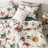 VM VOUGEMARKET Leaves Duvet Cover Set Full Queen,Colorful Ginkgo Prints Duvet Cover Matching 2 Pillow Shams,Lovely Bright Lightweight Bedding Set for Teens Girls Women