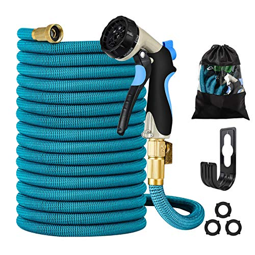 Garden Hose - Heavy-Duty, Flexible, Expandable, Retractable, Collapsible, Compact, Safe, Lightweight - No Tangle, Kink or Coil, Easy Storage - Best Waterhose for Gardening, Free Nozzle (100)