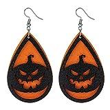 Halloween Black Latern Earrings for Women Pumpkin Light Earrings Orange Halloween Cosplay Party Favors Gift Small Pumpkin Drop Dangle Jewelry Teardrop Faux Leather Earring Dangle Halloween Costume Fun