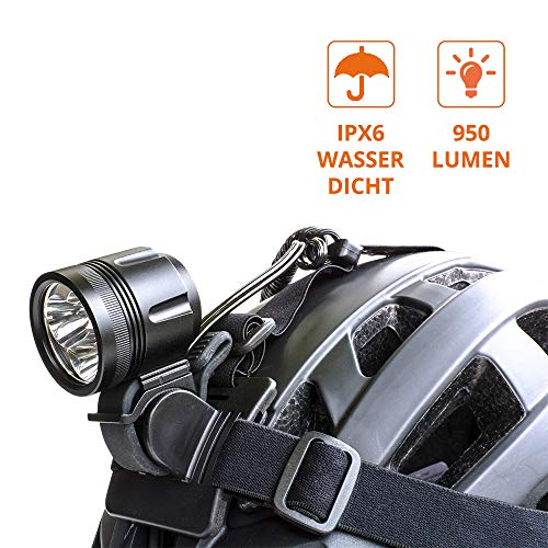ZNEX ØM3u | Casco USB + Lámpara para bicicleta | Lámpara frontal USB Ultra Brillante 960 lúmenes con 3x Cree XM-L2 LEDs de alto rendimiento | 4 modos de luz | se puede utilizar con todos los cargadores de 5V con una salida de 2A