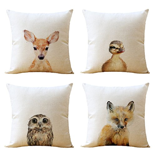 WOMHOPE 4 Pcs [Just Covers] - Animal Watercolor Patern Cotton Linen Pillow Covers Throw Covers Square Cushion Pillowcase Decorative Pillow Shams (Owl (Set of 4 pcs))