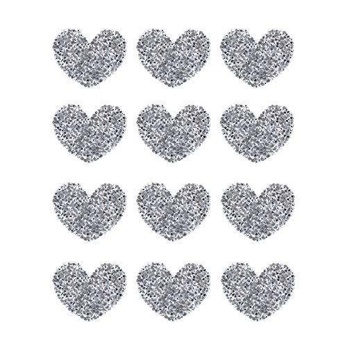 Artibetter 12Pcs Fer sur Patchs Strass Couture Applique Brillant Coeur Forme Strass Autocollant Tissu Accessoires (Argent)