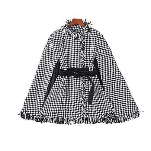 XUEPING Damenjacken, Damen Pullover, Mantel Loses Lässiges Top Mäntel S XL Schwarzes Gitter (größe : XLUK12EU40)