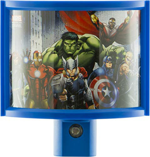 Disney Avengers LED Night Light, Wrapshade, Plug-in, Dusk to Dawn, UL-Listed, Marvel, Iron Man, Captain America, Thor, Ideal for Bedroom, Bathroom, Nursery, 13375, 1-Pack