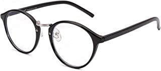 Cyxus(シクサズ)ブルーライトカットメガネ [透明レンズ] pcメガネ uvカット パソコン用メガネ 視力保護 輻射防止 紫外線防止 目の疲れを緩和 肌に優しい 睡眠改善 ファッション 復古円形 男女兼用(ブラック)