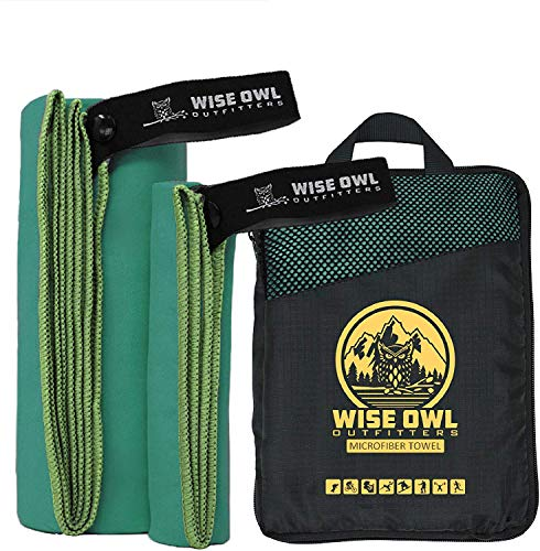 Wise Owl Outfitters Camping Towel & Gym Towel - Ultra Soft Compact Quick Dry Microfiber Best Fast Drying Fitness Beach Hiking Yoga Travel Sports Backpacking - LG Green
