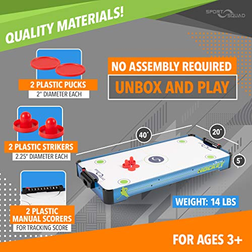 Sport Squad HX40 40 inch Table Top Air Hockey Table for Kids and Adults - Electric Motor Fan - Includes 2 Pushers and 2 Air Hockey Pucks - Great for Playing on The Floor, Tabletop, or Dorm Room