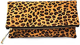 Leopard Print Haircalf Fold over Clutch, Evening Handbag, One Size, Women's Bags and Purses