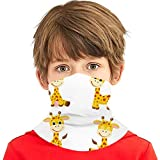 hfdff Cute Cartoon Giraffes Set Bandanas de cara a prueba de polvo a prueba de polvo para adolescentes/Niños Protección, Magic Scarf Neck Gaiter Nose Mouth Shield