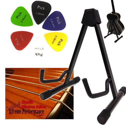 Chitarra a treppiede per chitarre acustiche con sistema regolabile + Set di corde con chitarra classica/concerto e 6X Plettri