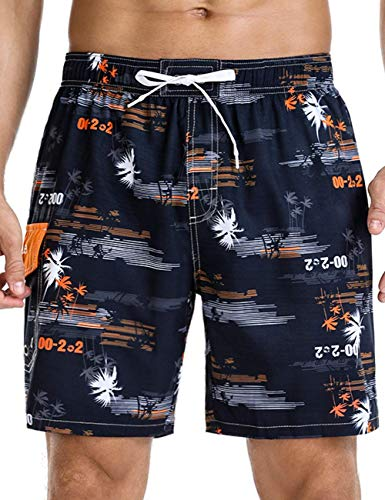 Nonwe Men's Swim Shorts Beach Vibe Soft Relaxed Fit Quick Dry Board Shorts Black 32